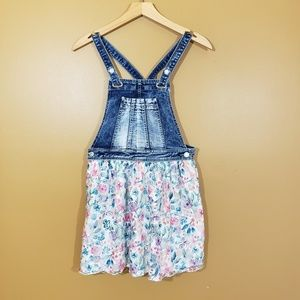 Jordache denim overall with floral skirt